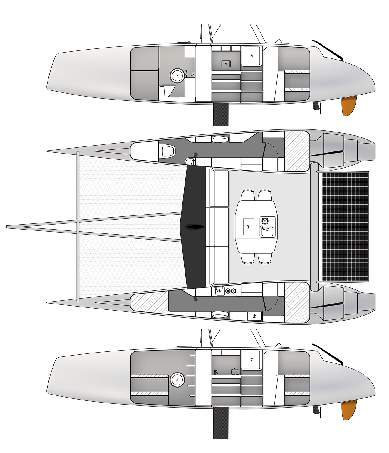 Space plan and side views